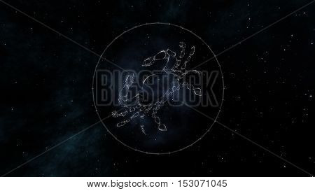 Cancer zodiac sign of the beautiful bright stars on the background of cosmic sky. Stars and symbol outline on a dark sky background. Zodiac signs. Horoscope. Astrology sign.