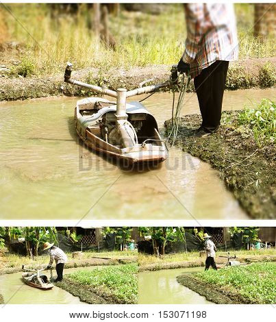 Injection water boat to planting vegetable gardens in gutter Graphic blur at top and under the image blur to enhance the composition of the image to be used more Have Thai gardener to working with this machine at Bangbuathong Nonthaburi province Thailand