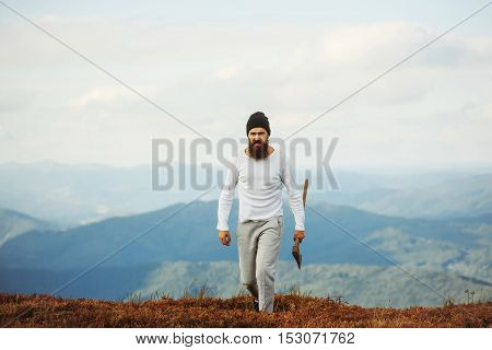 Handsome Bearded Man With Axe