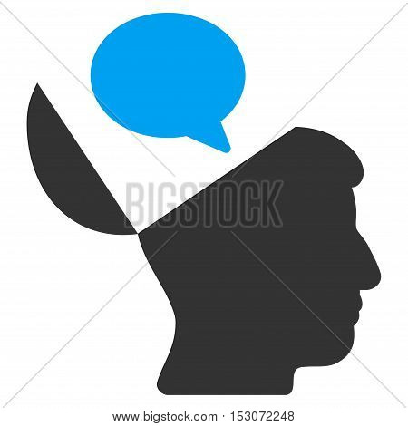 Open Mind Opinion glyph pictograph. Style is flat graphic bicolor symbol, blue and gray colors, white background.