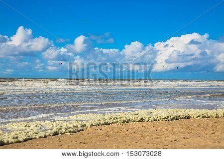 Deserted beach. The North Sea the Netherlands Noordwijk.