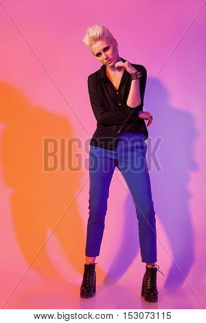 Model In Full Body In Fashion Photo With Colored Shadows