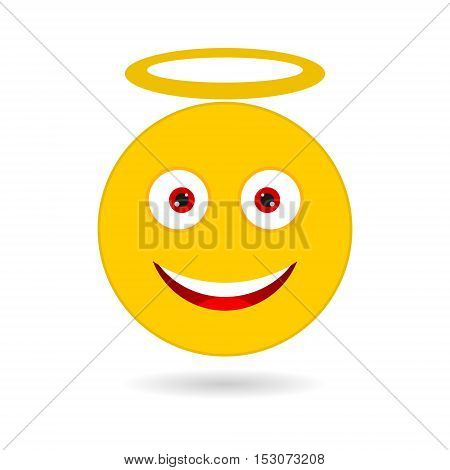Yellow smile with halo simple icon vector