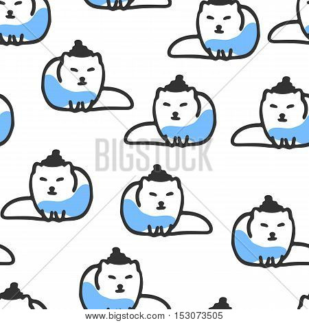 Seamless pattern with cute cartoon arctic fox. Funny fox wears scarf and hat. Vector doodles. Childish wallpaper