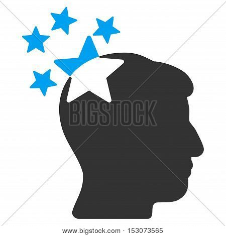 Stars Hit Head glyph icon. Style is flat graphic bicolor symbol, blue and gray colors, white background.