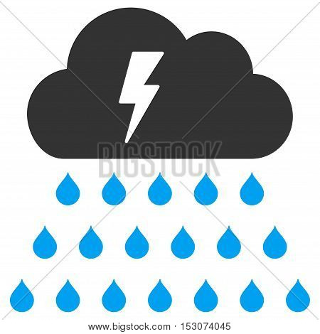 Thunderstorm Rain Cloud glyph pictograph. Style is flat graphic bicolor symbol, blue and gray colors, white background.