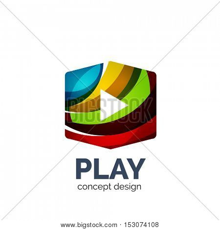 video play logo template. Colorful unusual business icon