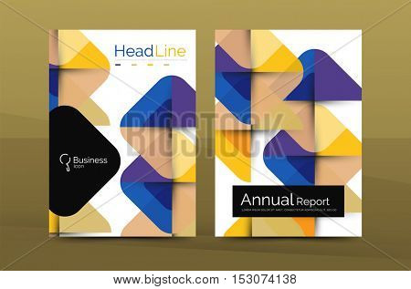 Business annual report cover design template, A4 brochure layout