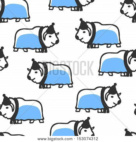 Seamless pattern with cute cartoon musk-ox. Funny ox wears scarf and hat. Vector doodles. Childish cartoon wallpaper