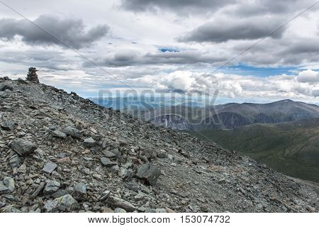 View from Karaturek mountain pass in cloudy weather
