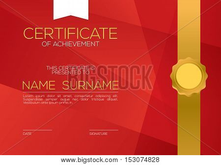 Modern Style Blank Red Certified Template Vector Illustration. EPS 10