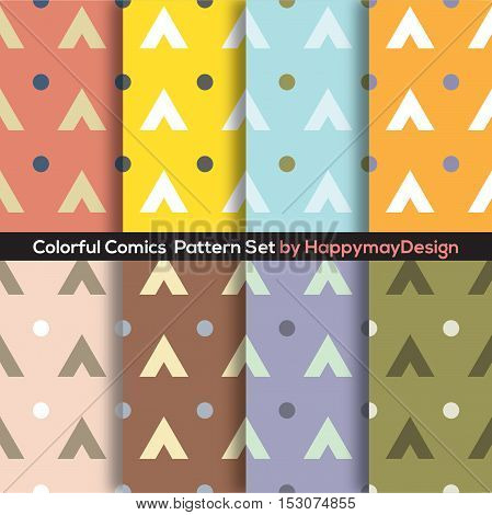 Colorful Graphic Set 0f 8 Ready To Use Pattern Vector Illustration. EPS 10