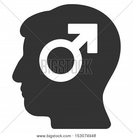 Mind Potency glyph icon. Style is flat graphic symbol, gray color, white background.