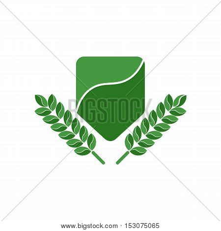 Green Shield and Leaves Logo Template. Isolated.