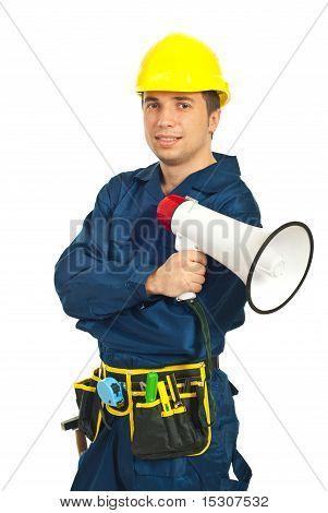 Worker Man Holding Loudspeaker
