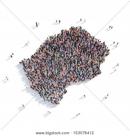 Large and creative group of people gathered together in the form of a map Lesotho , a map of the world. 3D illustration, isolated against a white background. 3D-rendering.