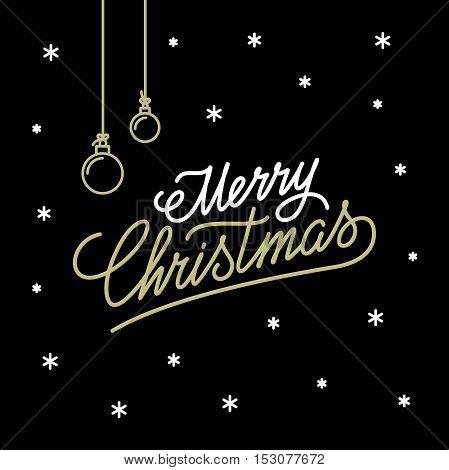 Merry Christmas lettering design. Handwritten outline calligraphy. Vector illustration.
