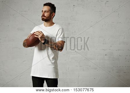Man In Blank White T-shirt With A Vintage Football