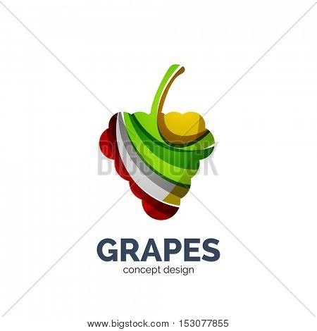grapes creative abstract fruit logo created with waves