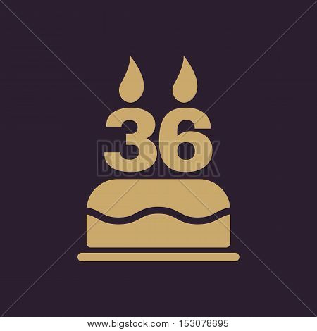 The birthday cake with candles in the form of number 36 icon. Birthday symbol. Flat Vector illustration