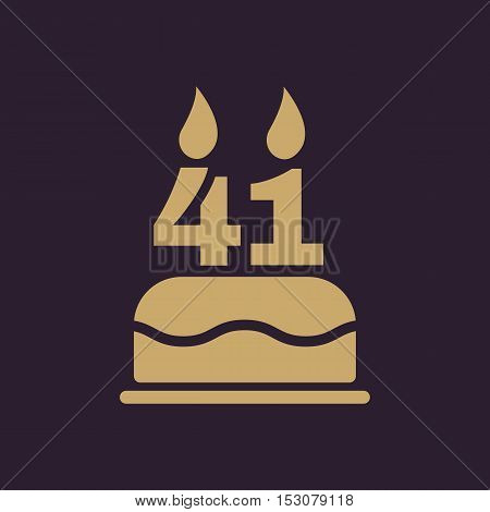 The birthday cake with candles in the form of number 41 icon. Birthday symbol. Flat Vector illustration