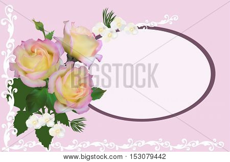 illustration with group of cream rose flowers on light background