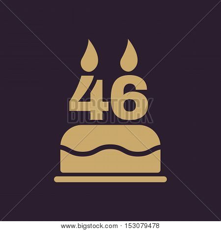 The birthday cake with candles in the form of number 46 icon. Birthday symbol. Flat Vector illustration