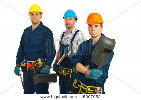 Team Of Three Workers Men