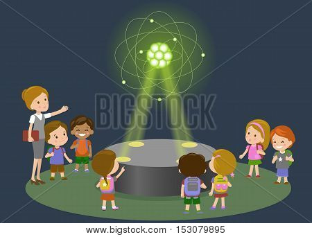 Education, elementary school, learning, technology and people concept - group of school kids looking to carbon atom hologram on physics lesson of future. Vector