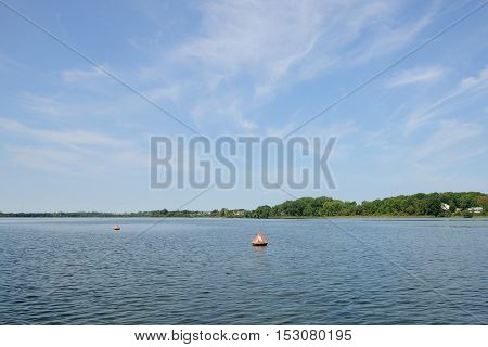 anchor buoys specify borders on the big lake