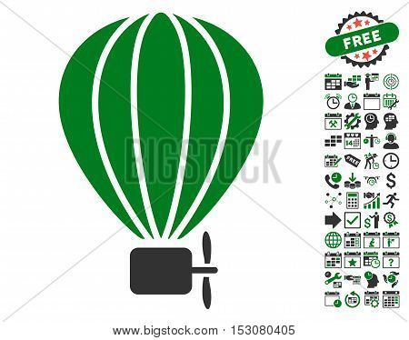 Aerostat Balloon pictograph with bonus calendar and time management pictograph collection. Glyph illustration style is flat iconic symbols, green and gray colors, white background.