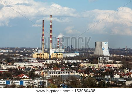 KRAKOW POLAND - MARCH 29 2016: the heat and power generating plant in Cracow Poland