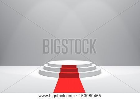 3D Rendering : illustration of stage with red carpet for awards ceremony. White round podium. First place.3 steps empty podium on white room background.for advertising your product or present a product