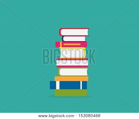 Stack books icon isolated. Concept knowledge back to school. Education and study, learn university read, shelf and heap literature, reading and reader books. Vector illustration