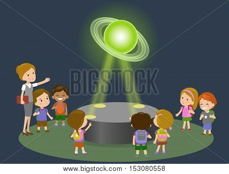 Innovation education elementary school museum astronomy center. Technology and people concept - group of kids looking to Saturn hologram on physics lesson future. Vector