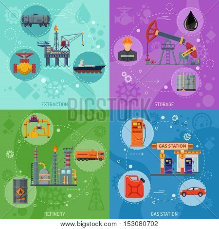 Oil industry Square Banners with Flat Icons extraction refinery and transportation oil and petrol with gas station, rig and barrels. vector illustration.
