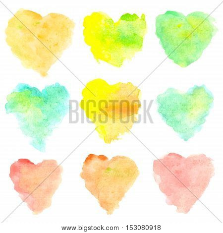 Watercolor heart shaped stains isolated on white background. Set of red, yellow, blue, green, orange hand painted spots. Colorful vector illustration