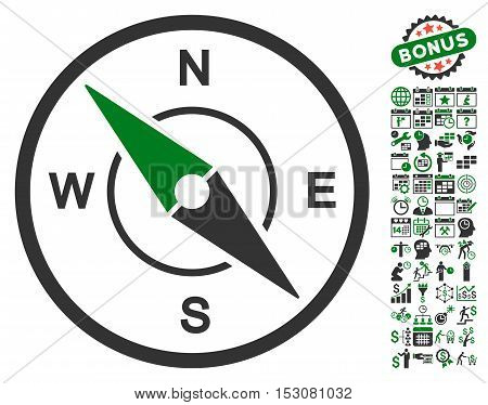 Compass icon with bonus calendar and time service graphic icons. Glyph illustration style is flat iconic symbols, green and gray colors, white background.