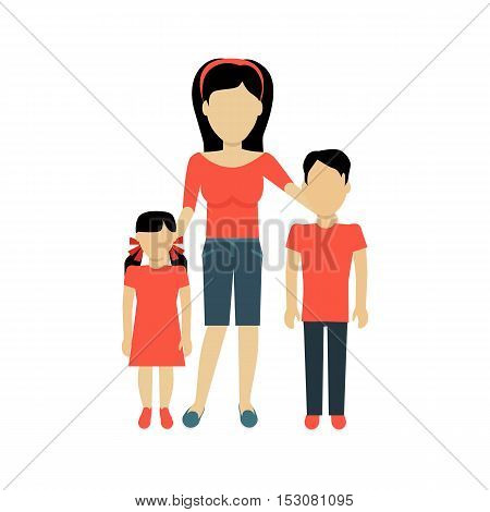 Mother with children banner concept. Mum holding hand of his daughter and son. Family and parent, girl and boy with mum, happiness together love parenting brother and sister, vector illustration