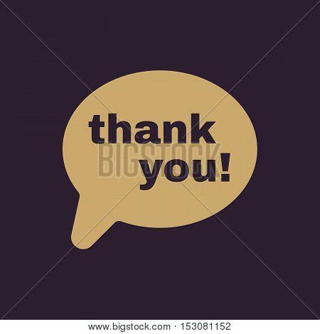 The thank you  icon. Thanks symbol. Flat Vector illustration