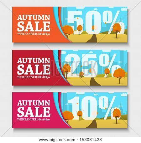 web set of horizontal banners with autumn landscape. Templates for seasonal sale with different discount. Vector illustrations. Set