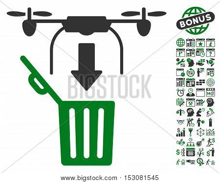 Drone Drop Trash icon with bonus calendar and time service clip art. Glyph illustration style is flat iconic symbols, green and gray colors, white background.