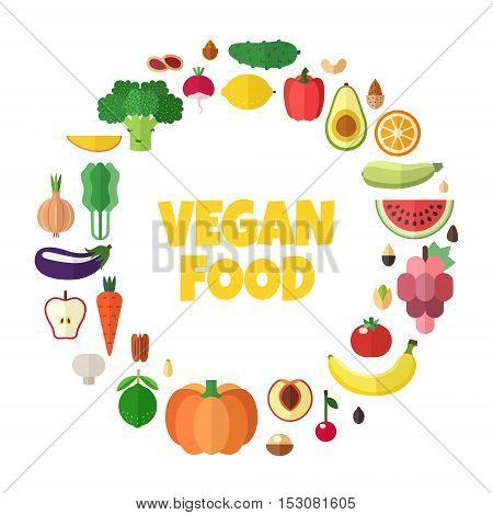 Vegetables fruits and nuts vegan food vector circle frame illustration. Modern flat design.