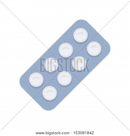 Pills vector illustration in flat style design. Variety types of drugs, dragees, pill. Antibiotic, analgesic, antidepressant. Pharmaceuticals goods. Isolated on white background.
