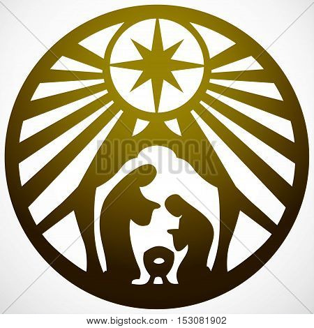 Holy family Christian silhouette icon vector illustration gold on white background. Scene of the Holy Bible