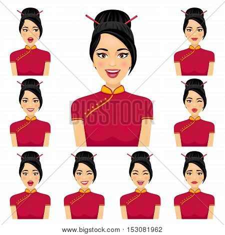 Attractive Asian Woman With Nine Variors Facial Expressions. Vector Cartoon Avatar Icon Set On White