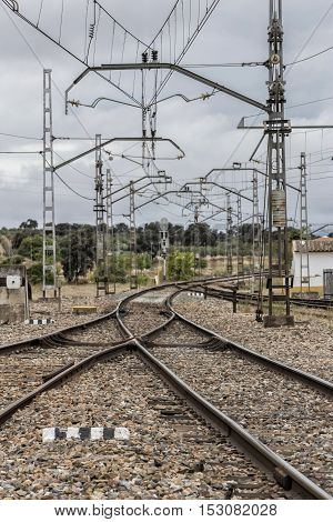 Espeluy railway platform and train tracks Jaen province Spain