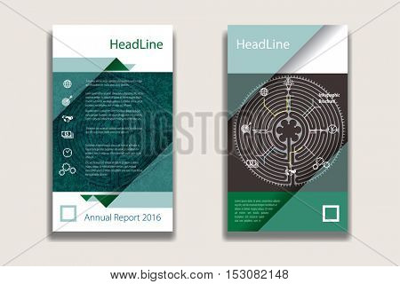 green colors annual report Leaflet Brochure Flyer template design, book cover layout design, Abstract presentation templates, flyer infographics template, vector background