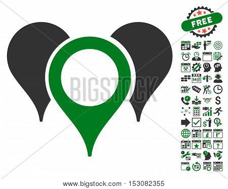 Map Pointers icon with bonus calendar and time service images. Glyph illustration style is flat iconic symbols, green and gray colors, white background.