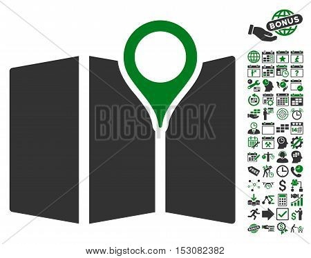 Map pictograph with bonus calendar and time service pictograms. Glyph illustration style is flat iconic symbols, green and gray colors, white background.